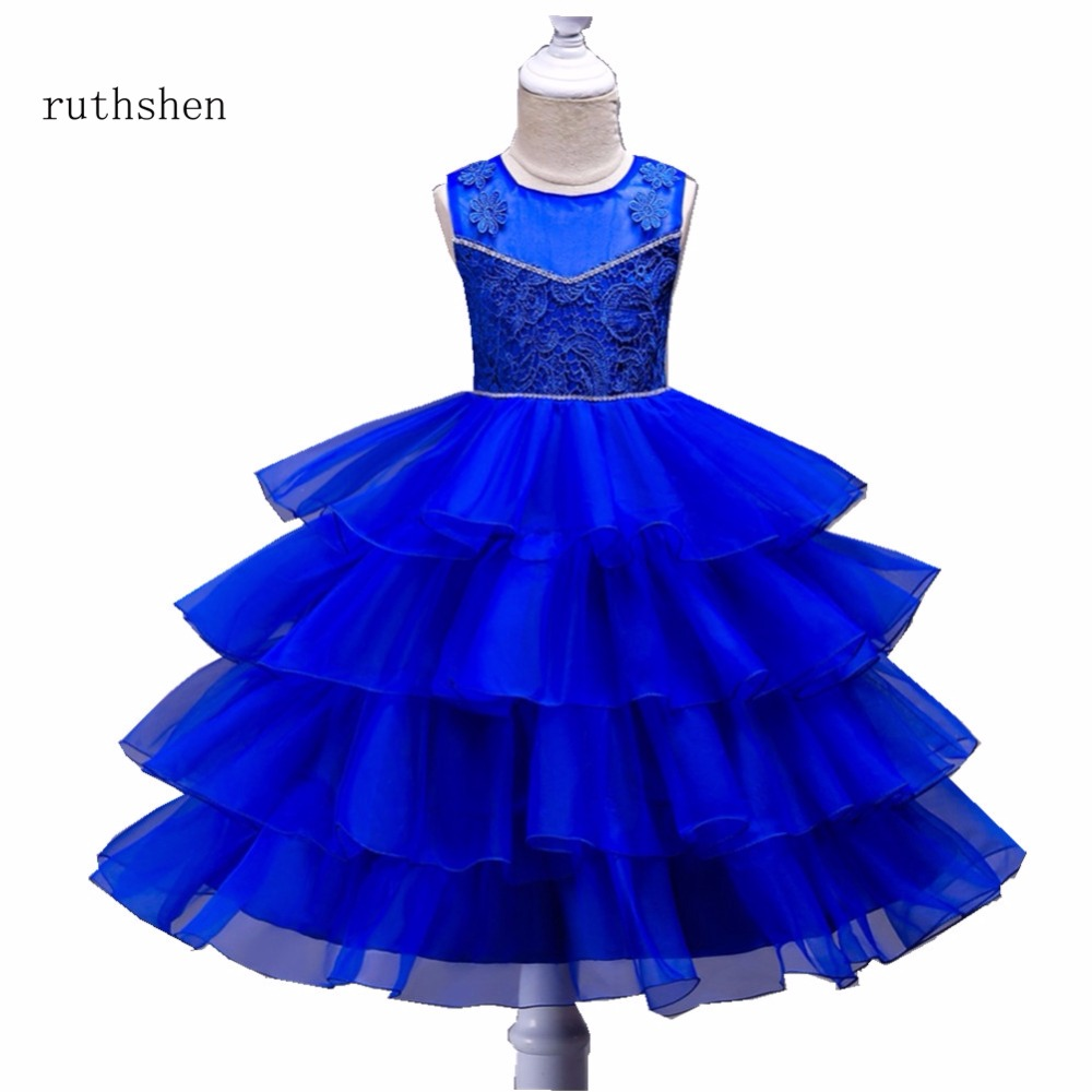 ruthshen 2018 Hot Fashion Red/Pink/Rose/Purplue/Blue/Champagne Ruffles Toddler Birthday Frocks Tiered Beads   Flower     Girl     Dresses