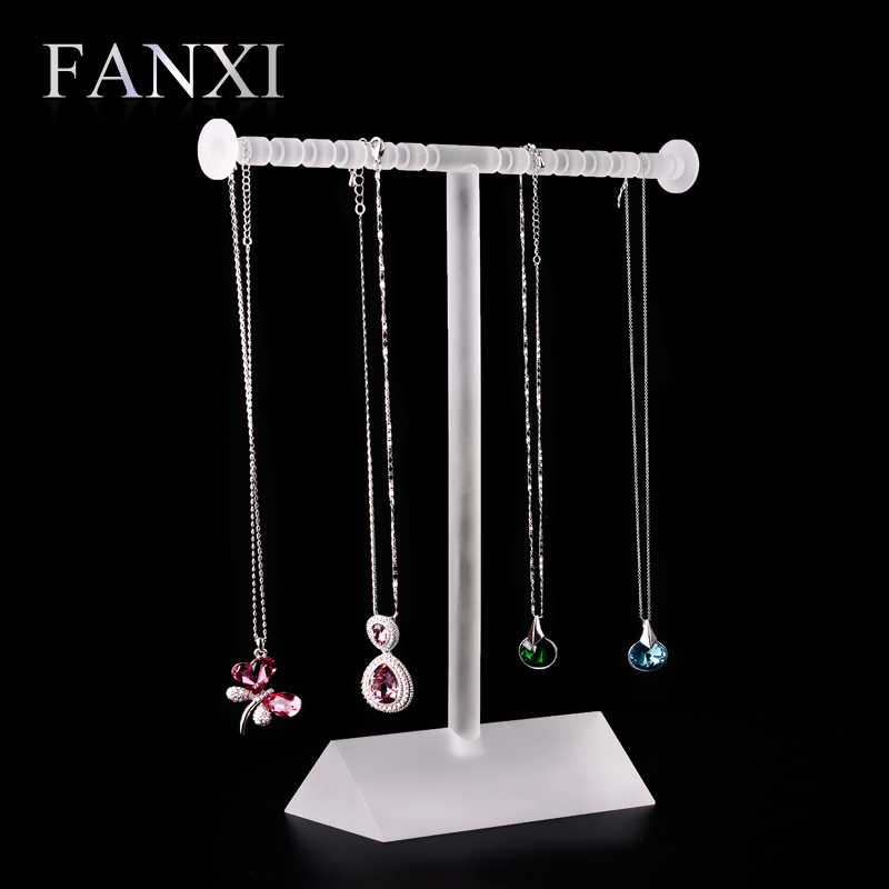 цена на FANXI Fantastic Necklace Display Stand Holder Matte Acrylic Jewelry Display Organizer Shelf Long Chains Decoration Showcase