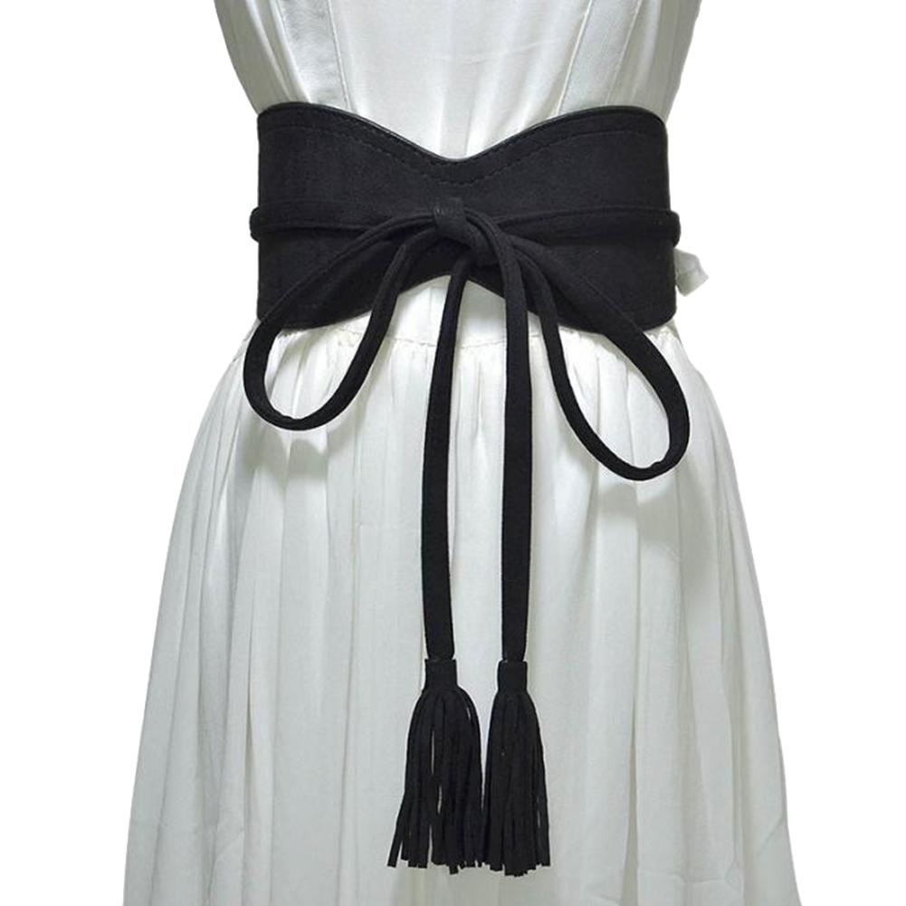 Hot Women Dress Belt Solid Color Faux Leather Bandage Tassel Sash Waistband Wedding Gift