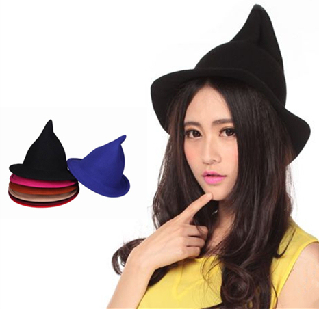 ea7af4f160e Korean Style Soft Cute Tip Top Caps 100% Pure Wool Felt Fedora Hats Women  Witch