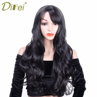 DIFEI Dark Black Cosplay Wig Long Curly Wavy With Bang For Anime Party Women Halloween Costume