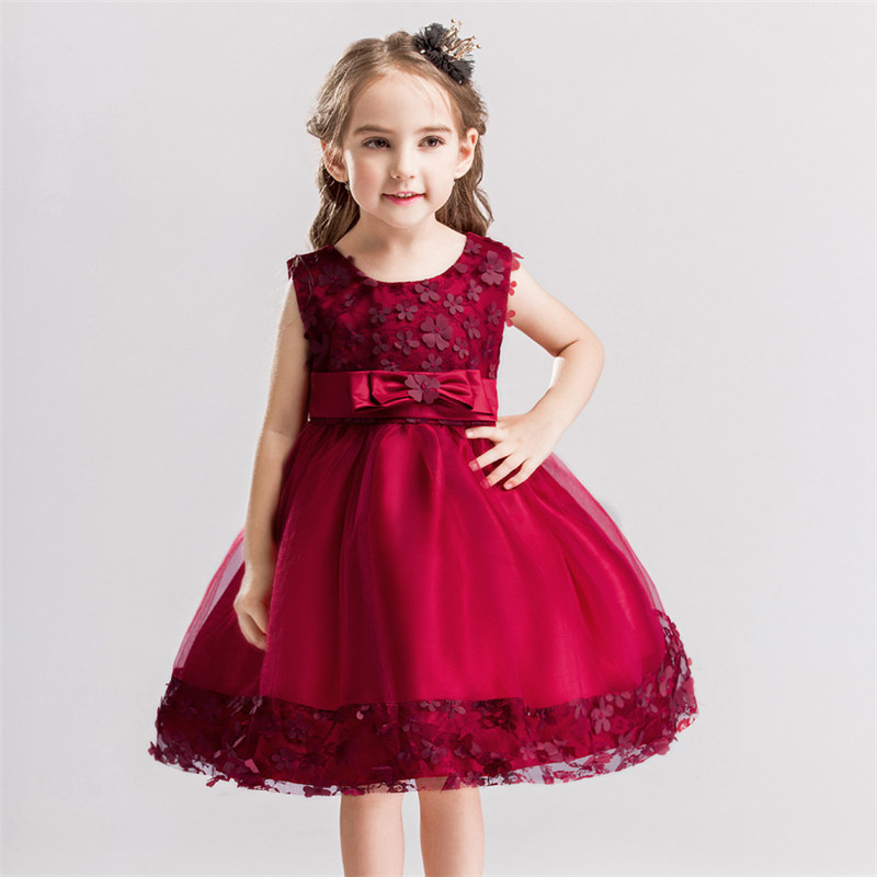 Fashion Girls Rose Flower Dress Summer Wedding Party Children Princess Costumes Kids Dresses With Bow Robe Enfant Girls Clothes fashion girl party dress princess dress for girls flower bow kids dress tribute silk floral girls clothes robe fille enfant 2 8t
