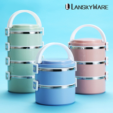 LANSKYWARE Japanese Kids Thermal Lunch Box 304 Stainless Steel Bento For Children School Leakproof Food Container