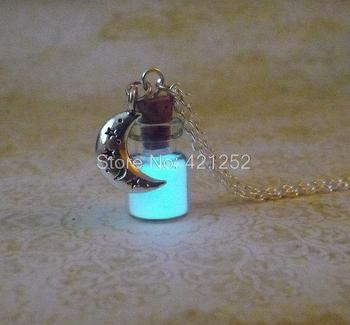 12pcs/lot Glow In The Dark Necklace Moon charm Fantasy Glowing Jewerly Moon Dust Necklace