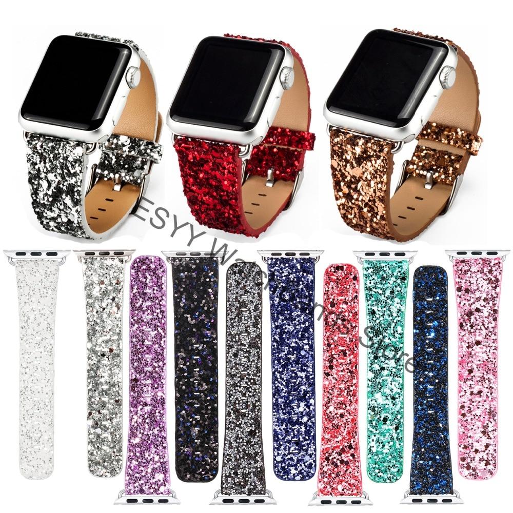 Navidad brillante brillo poder PU cuero Bling lujo Iwatch banda pulsera correa para Apple Watch serie 3/2 38mm 42mm