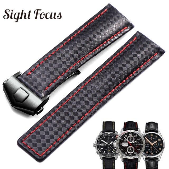 d109ddfd41c Carbon Fiber Leather Strap Men for Watch Band Strap 19mm 20mm 22mm  Deployment Buckle Black Red Stitch for Carrera Aquarace Belts