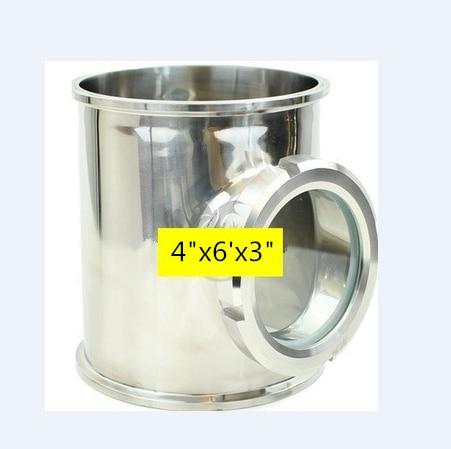 Dia 4 x 6 Long avec 3 L'union Vue En Verre Tee. SS304 Inoxydable Vue Vue de, Moonshine Distiller Cloumn