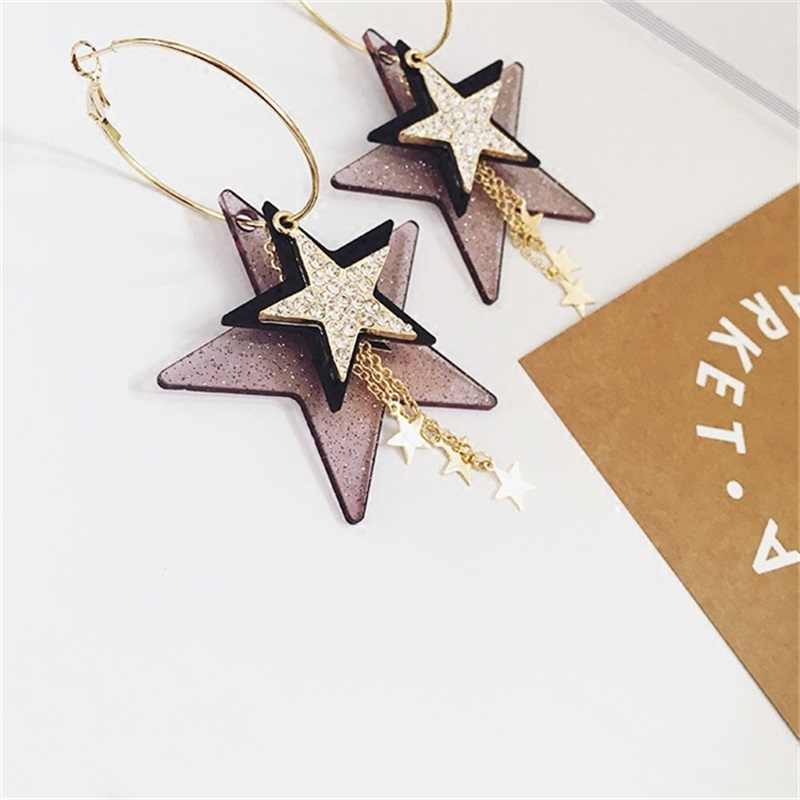 2019 Korean fashion exaggerated multiple sequins five-pointed stars long tassel big circle earrings for women girls jewelry gift