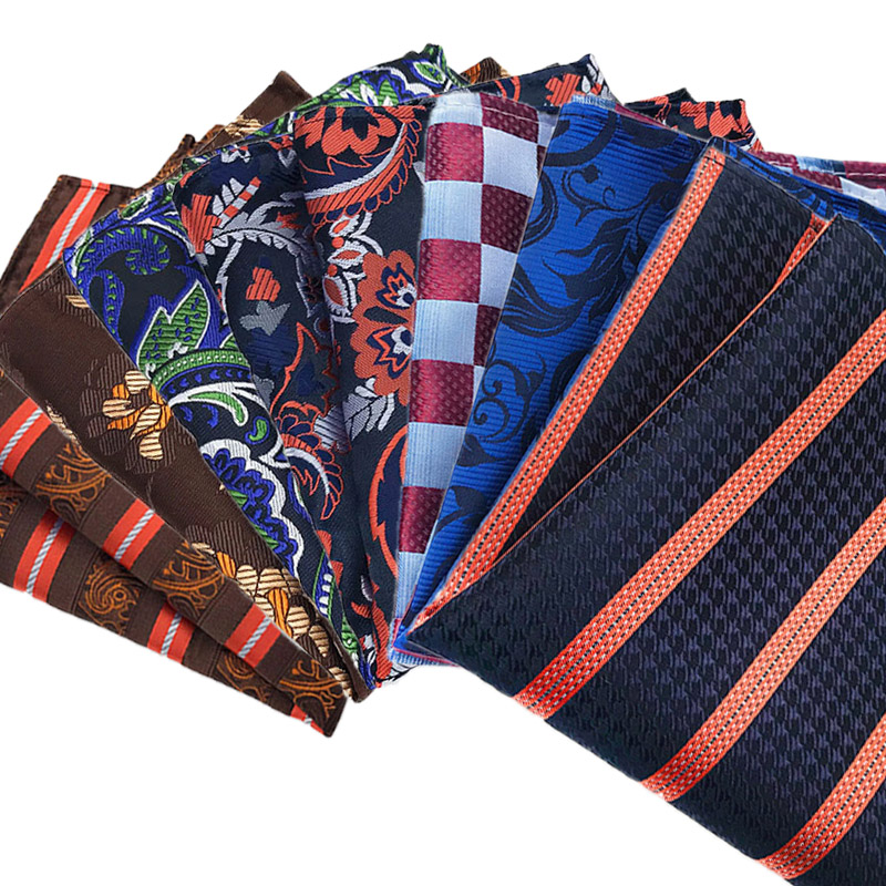 25CM Silk Men's Pocket Square  Handkerchief Stripes Floral Paisley Hanky Men Suit Chest Towel Accessories For Wedding Party