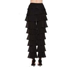 Mid-rise Black Ruffle Straight Vintage Chiffon Pants Women Loose Casual Pants  Elegant Long Flare Bottoms  Capri Trousers