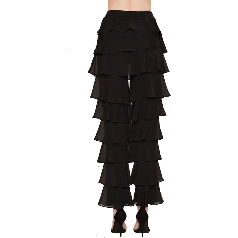 Mid-rise Black Ruffle Straight Vintage Chiffon   Pants   Women Loose Casual   Pants   Elegant Long Flare Bottoms   Capri   Trousers