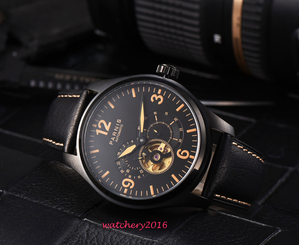 Fashion 43mm PARNIS Black Dial Orange Marks PVD Coated Leather strap Luxury Brand Automaatic Movement men's Watch NEW Arrived