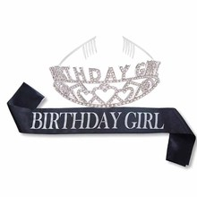 Letter Birthday Girl Sash and Tiara Crown set for girls kid adult women 10th 15th 16th 18th 20th 21st 30th 40th party decoration