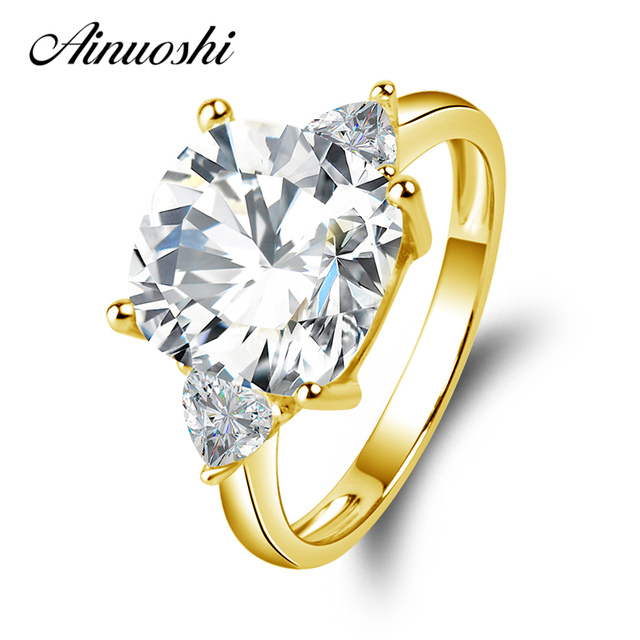 AINUOSHI 10K Yellow Gold TC Collection Wedding Rings 3.5 CT Sona nscd Simulated Diamond 3 Stones Jewelry Women Engagement Ring