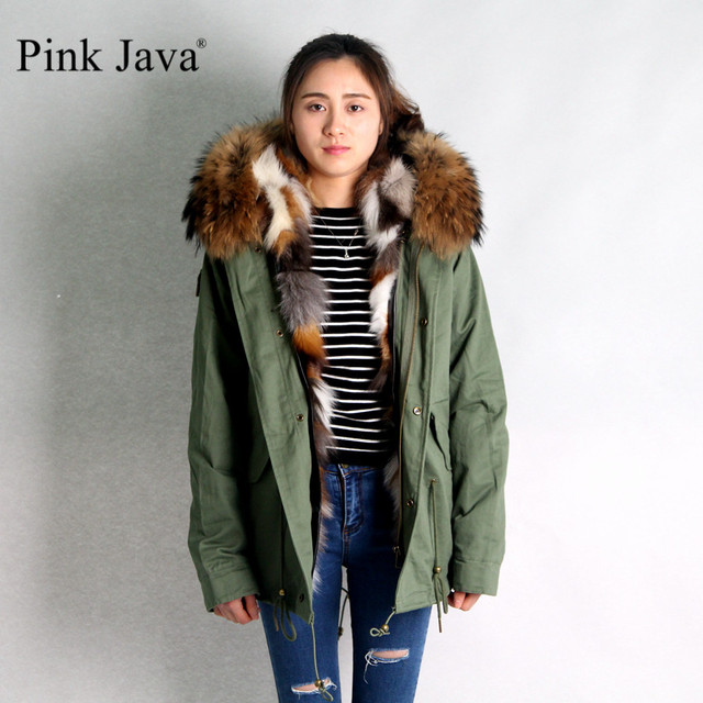 Pink Java high quality real fox fur lined parka with natural ...