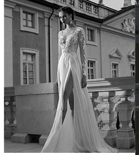 2014 New Design Full Sleeve Chiffon Lace Evening Dresses A Line Floor Length V Neck Open Back Sexy White Prom Gowns