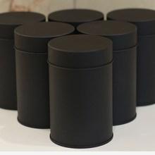 Черная круглая жестяная коробка для чая, контейнер для чая 75 г, упаковка для еды, жестяная банка