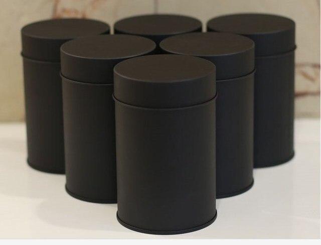 Size Dia 74x117mm Black Round Tea Tin Box Tea Container