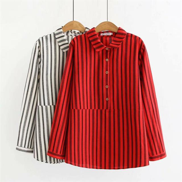 c89d57849 Plus size turn-down collar long sleeve cotton linen blouse women 2018 black  & red striped shirt spring & autumn ladies tops 4XL