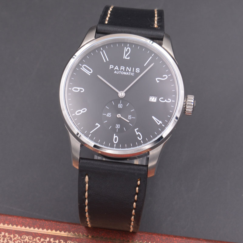 Parnis 42mm watch black dial calendar Seagull Movement PARNIS Automatic mechanical men watch PN613 цена и фото