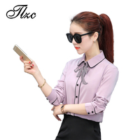 TLZC Fashion Elegant Lady White Blouses Bow Tie Size S 2XL New Arrival Sweet Office Women