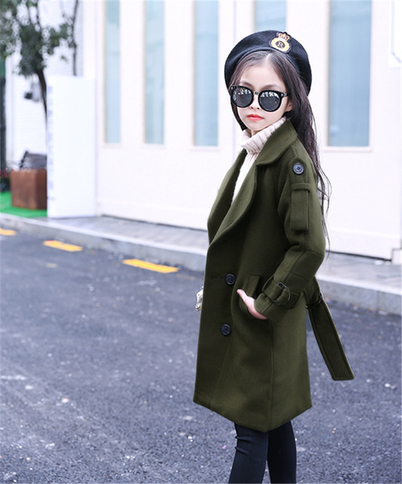 Kids Winter Double-breasted Wool Coat Girls Fashion Thicken Long Sweet Jacket Teenager Long-Sleeve Warm Wollen Overcoat AA60436 2018 new fashion suede lamb wool women coats double breasted warm solid thick long overcoat casual winter cotton jackets female
