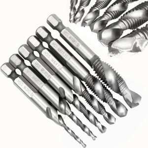 M3-M10 6 Pcs/set drill bit thread spirals crew tap 1/4 ''Hex HSS composite tap