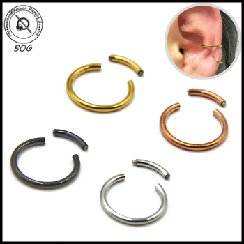 1PC 16G Surgical Steel Segment Ring Ear Piercing Nose Rings Captive Nose Hoop Piercings Clip on Earrings For Unisex Body Jewelry image