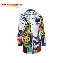 2017 streetwear jackets windbreaker women long cartoon pattern Spliced denim jacket for women jeans outwear Try everything D30