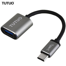 TUTUO USB C Male to USB A 3.0 Female OTG Adapter Aluminum Alloy Type C Hub for MacBook Pro / S8 /Xiaomi / Huawei Mate 10 (Gray)