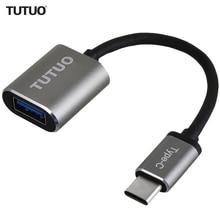 TUTUO USB C זכר USB A 3.0 נקבה OTG מתאם אלומיניום סגסוגת סוג C רכזת עבור MacBook Pro/S8 /Xiaomi/Huawei Mate 10 (אפור)