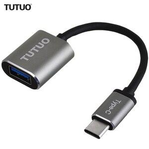 Image 1 - TUTUO USB C erkek USB A 3.0 kadın OTG adaptör alüminyum alaşımlı tip c macbook için hub Pro/S8/Xiaomi /Huawei Mate 10 (gri)