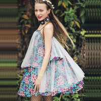 Summer Women Short Dress Bohemia Cute Beach Casual Loose Floral Mesh Chiffon Short A Line ladies Dress vestidos cortos vadim