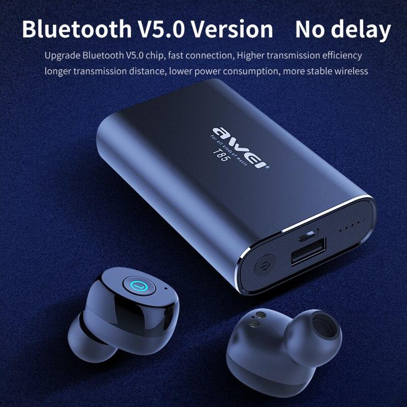 AWEI T85 TWS Sans Fil oreillettes bluetooth 5.0 1800 mAh batterie externe Mini écouteurs bluetooth Casque Avec Double Microphone Pour Téléphone - 5