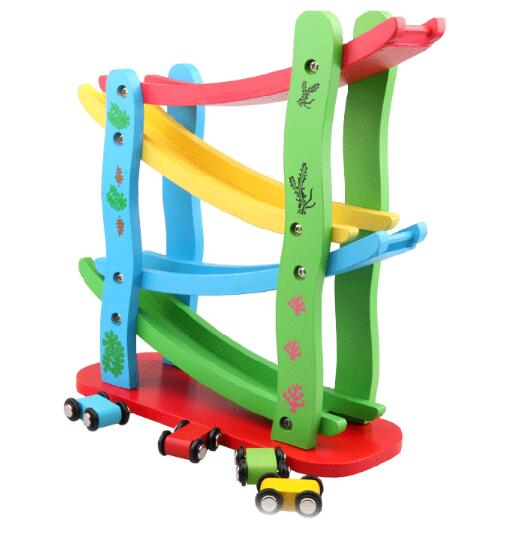 Trolley Track Kids Children Classic Toys Slippery Car Color Design Environmentally Wooden Toys For Slippery Car