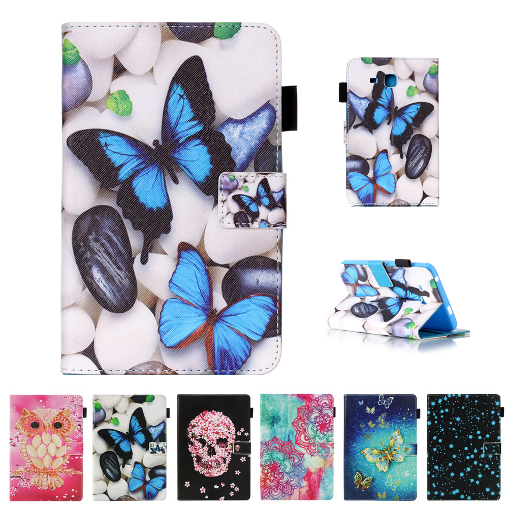 Cartoon Tablets Case For Samsung Galaxy Tab A A6 7.0 Inch 2016 T280 PU Leather Painting Books Stand Protective Case Cover Shell