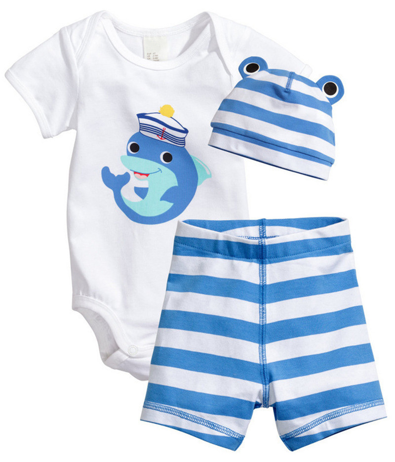 3Pcs Baby Girls Clothing Sets Summer Baby Rompers Short Sleeve Baby ...