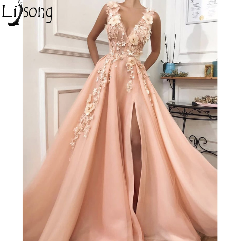 Sexy Plunging V Neck High Split   Prom     Dress   Elegant Peach Appliques Long Evening   Dress   Abendkleider Chic Party Gown Zipper Back