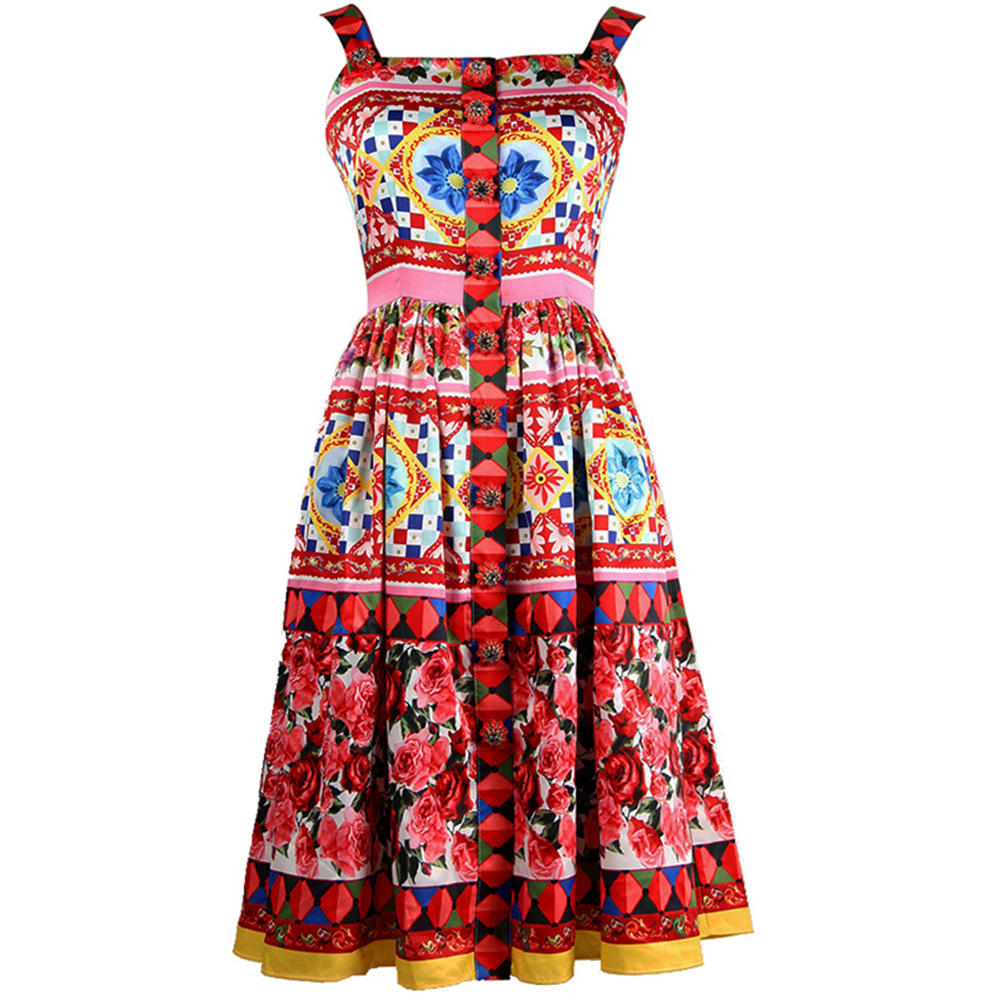 2017 Summer Designer Women's High Quality Colourful Flower Printed Crystal Button Spaghetti Strap Knee-length Dress