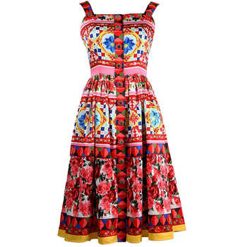 2017 Summer Designer Women's High Quality Colourful Flower Printed Crystal Button Spaghetti Strap Knee-length Dress - DISCOUNT ITEM  27% OFF All Category
