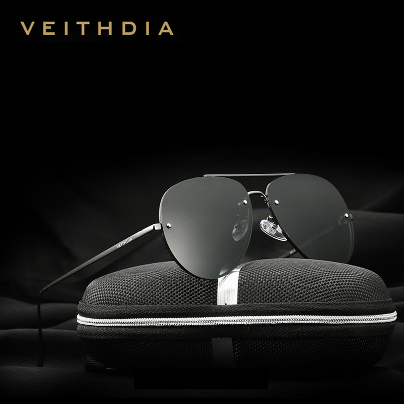 VEITHDIA Brand Fashion Men Sun Glasses Polarized Coating Mirror Classic Rimless Sunglasses  Male Eyewear For Women Oculos 3811