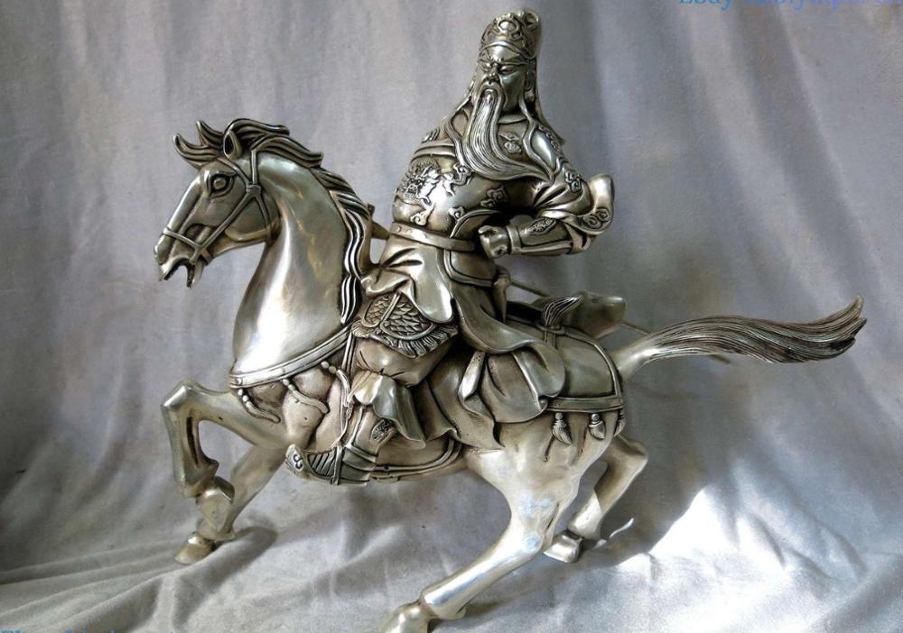 13 la cina argento intagliato bella Guan Yu Scultura cavallo Guan Gong Buddha ST13 la cina argento intagliato bella Guan Yu Scultura cavallo Guan Gong Buddha ST