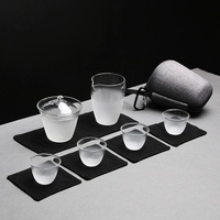 Kung fu travel tea set portable bag glass cover bowl cup a pot of four cups of kung fu tea set LM5201450py