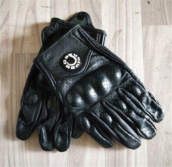 Guantes de cuero perforados transpirables moto rcycle para hombre guantes de montar al aire libre moto GP guantes Retro moto rcycle guantes