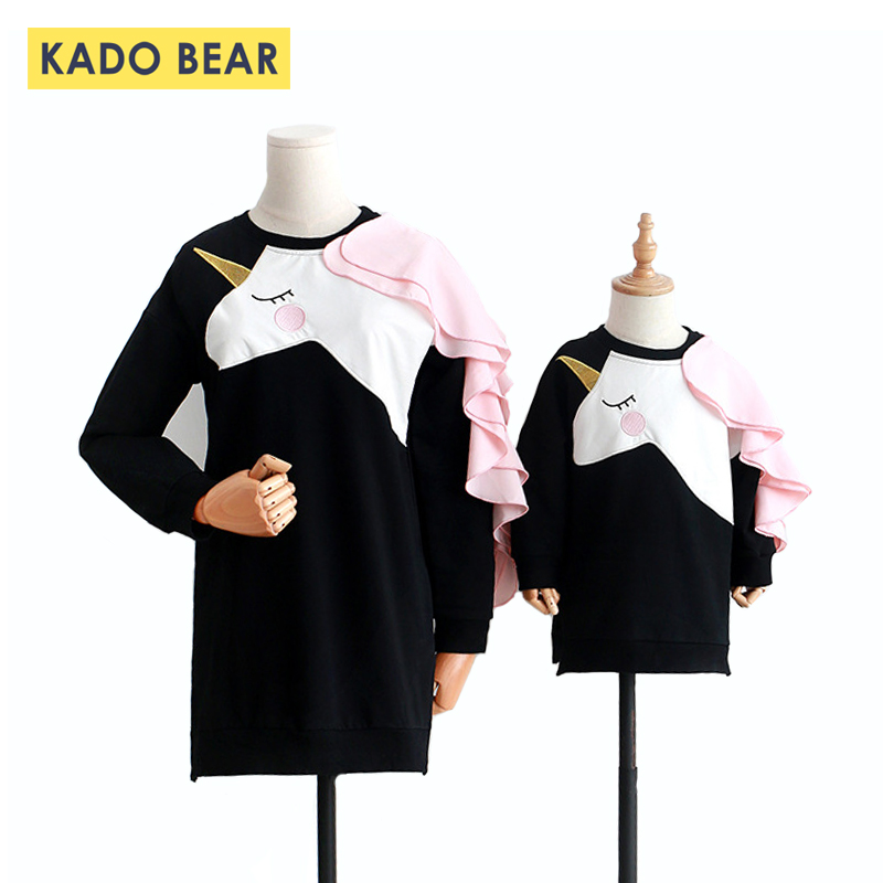 Autumn 2018 Mother Daughter Unicorn Dresses Family Look Mommy and Me Matching Outfits Girl Princess Baby Party Clothes Mom Dress mommy and me mother daughter dresses apple fruit autumn winter long sleeve mom and daughter dress family matching outfits coat