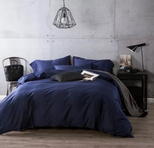 luxury navy blue egyptian cotton bedding sets sheets bedspreads king size queen duvet cover bed in - Navy Bedding