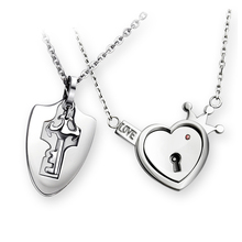 Couples concentric lock Lover Pendant Necklaces For Women's and Men's 316L Stainless Jewelry Heart Necklace