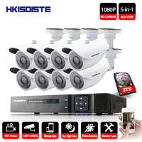 HKIXDISTE Surveillance Camera System 8CH 2MP CCTV DVR Kit Support Analog AHD TVI CVI IP Camera Video Security Systems Max 2TB