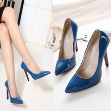 New style paten leather Pointed  women High heeled shoes 11.5cm Thin heels blue Shallow mouth Work pump size35-40 free shipping