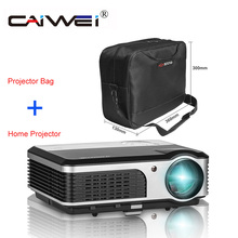 CAIWEI Portable LCD Projector with Bag Home Cinema Video 1080P Theater Movie TV Show Channel Full HD LED Beamer Multimedia
